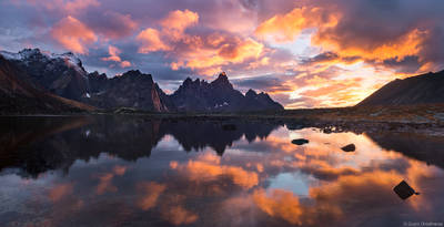 tombstone, sunset, territorial, park, yukon, canada, clearing, storm, talus, lake, mountain,