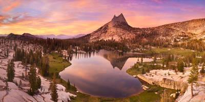 cathedral peak, sunset, yosemite, national park, california, usa, upper, lake, high, country