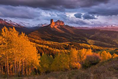 owl, creek, sunset, ridgway, colorado, usa, autumn, chimney, rock, courthouse, mountain,