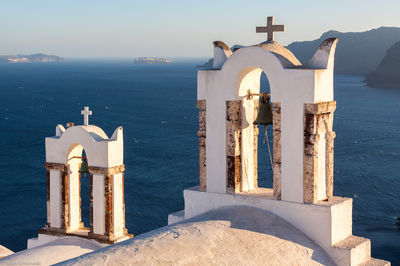 church, bells, oia, santorini, greece, mediterranean, sea, above, high,