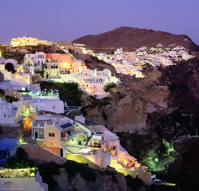 oia, greece, santorini, night, seaside, village,