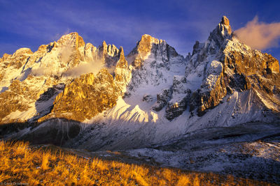 dolomites, italy, san martino di castrozza, pala, grass, rugged, sunset, goup