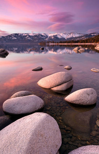 lake tahoe, clear, sunset, pink, boulders, water, california, sand, harbor,