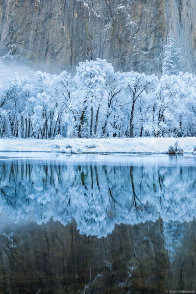 merced, river, winter, Yosemite, national, park, california, frosted, trees