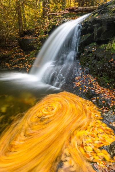 adirondack, swirl, lake, placid, waterfall, pool, spinning, leaves, creek, mountains