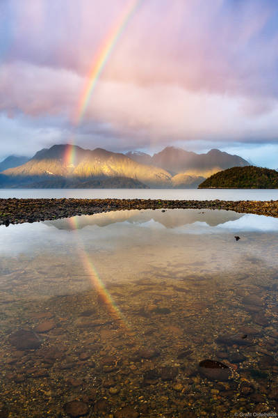 cisnes, chile, puerto, sunset, rainbow, storm, channel, light