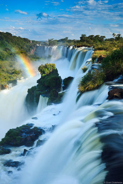 iguazu, falls, puerto, argentina, massive, waterfalls, border, brazil, largest, south america