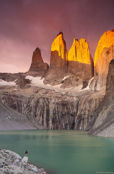 torres, morning, del, paine, national, park, chile, person, iconic, towers,