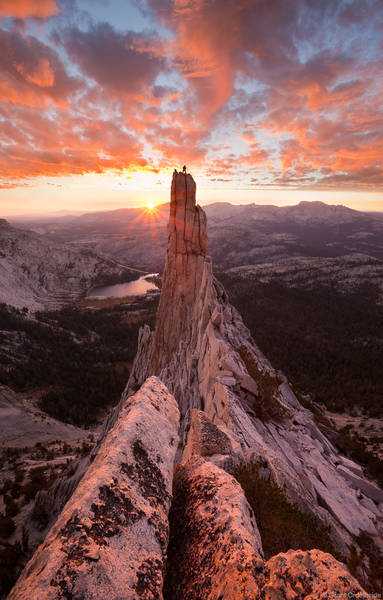 eichorn, pinnacle, sunset, yosemite, national, park, california, climber, granite, tower, cathedral, peak, tuolumne
