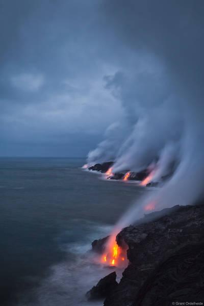 storm, lava, big island, hawaii, flowing, ocean, puu oo, vent