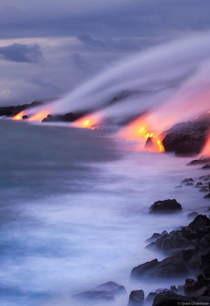 lava, dusk , big island, hawaii, flows, pacific ocean, puu oo, vent,