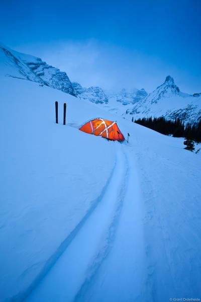 skis, illuminated, tent, banff, national, park, alberta, canadian rockies