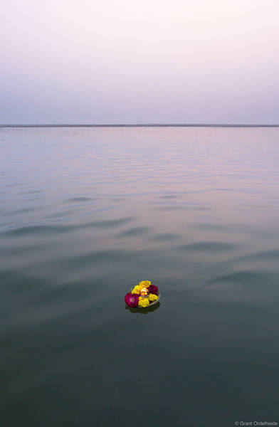 single, prayer, candle, floats, holy, ganges, river, varanasi, india