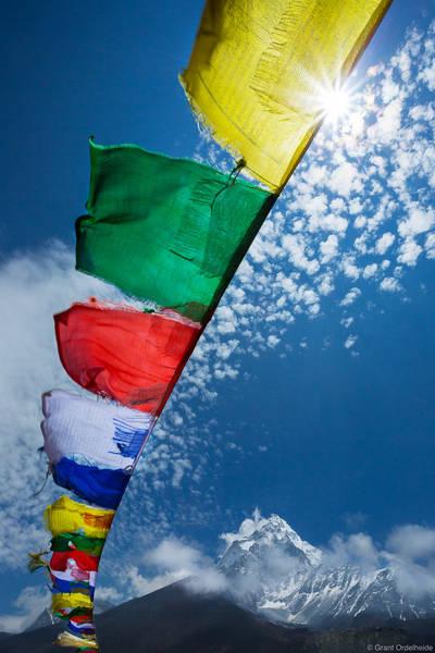 ama dablam, prayer, flags, sagarmatha, national, park, nepal, everest, region