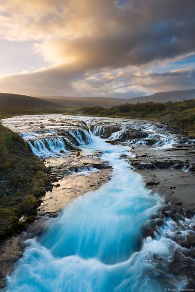 brúarfoss, southwestern, iceland, sunset, beautiful, waterfall