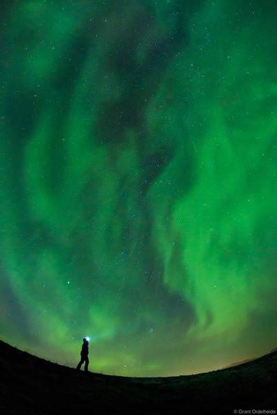aurora, gazing, Grundarfjörður, Iceland, young, woman, admires, dancing, northern, lights, above
