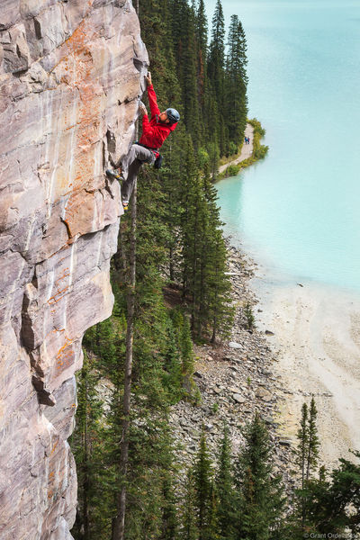 lake, louise, climbing, banff, national, park, alberta, climber, ascends, route, back of the lake, crag