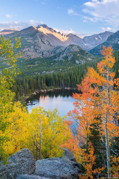 bear, lake, autumn, rocky, mountain, national, park, colorado, colored, aspens, longs, peak, bear, lake