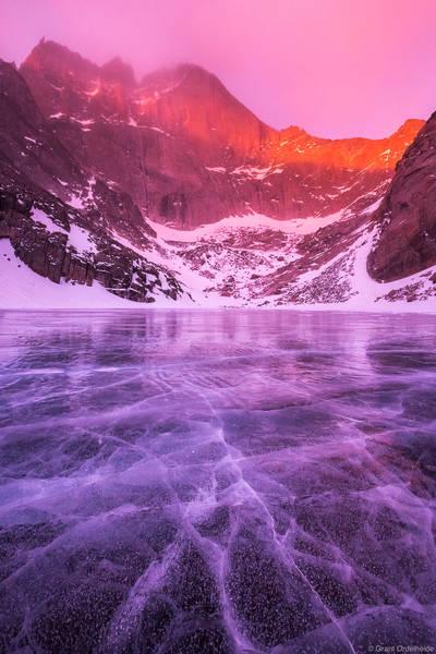 chasm, lake, winter, rocky, mountain, national, park, colorado, stormy, morning, frozen, diamond, face, longs, peak,