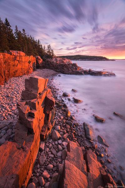 acadia, sunrise, national, park, maine, rocky, beach,