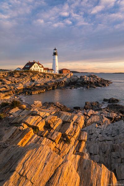 portland, head, light, maine, sunrise, lighthouse, iconic,