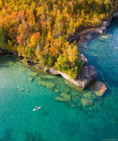 lake, superior, kayaking, munising, michigan, kayaker, paddling, clear, waters, upper, peninsula