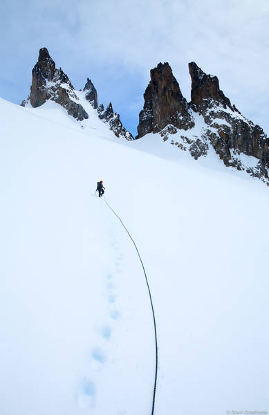 open, mountain, rope, team, ascends, snowfield, remote, spires, cerro, castillo, national, reserve, chile