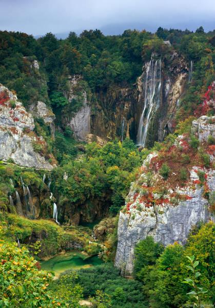 waterfalls, plitvice lakes national park, croatia, falls, foliage, fall