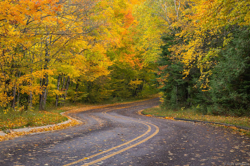 fall, drive, pictured, rocks, national, lakeshore, michigan, winding, road, foliage, munising