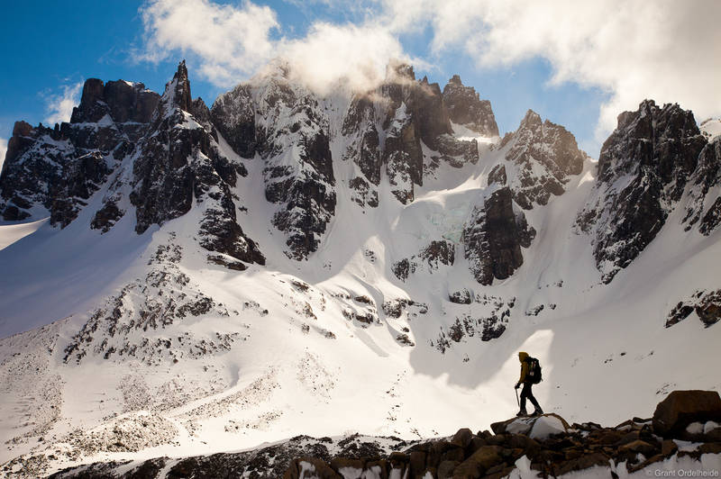 sahne, nuss, range, cerro, castillo, national, reserve, climber, rugged, peaks, chile,