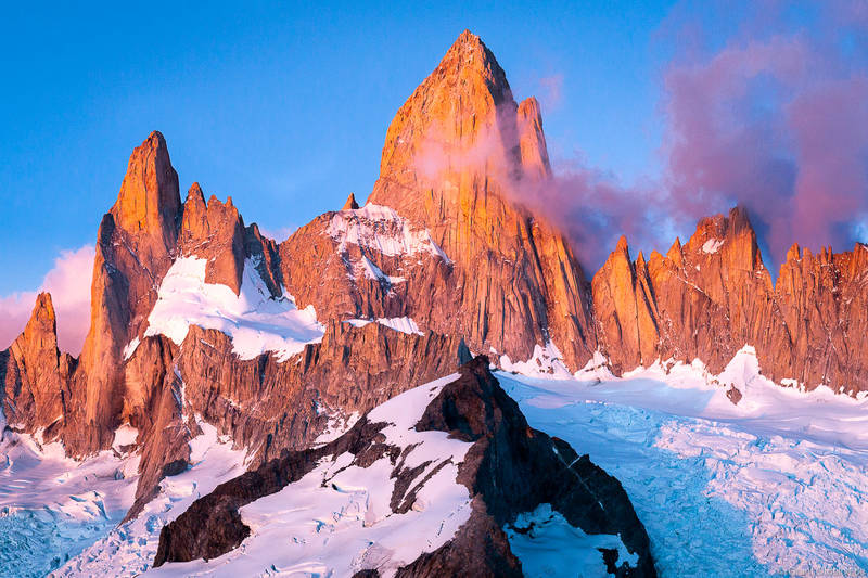 mount, fitzroy, sunrise, El Chaltén, argentina, incredible, massif
