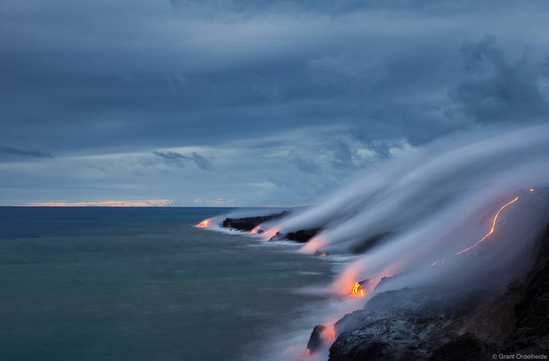 ocean, entry, pacific, puu oo, lava, volcano, kalapana, big island, hawaii