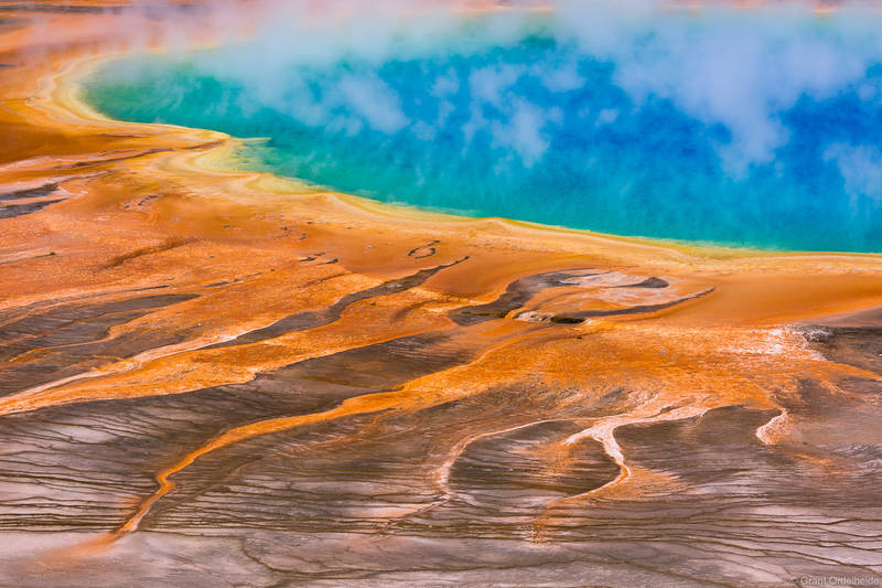 grand, prismatic, spring, colorful, hot, yellowstone, national park, wyoming, usa,