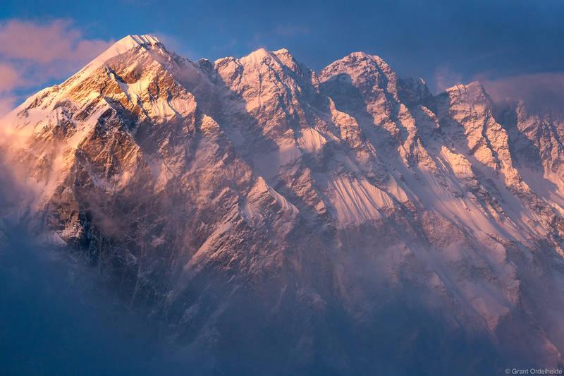 nuptse, sunset, sagarmatha, national, park, nepal, everest, region