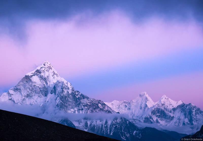ama dablam, sagarmatha, national, park, nepal, pastel, colors, rays, light, everest,