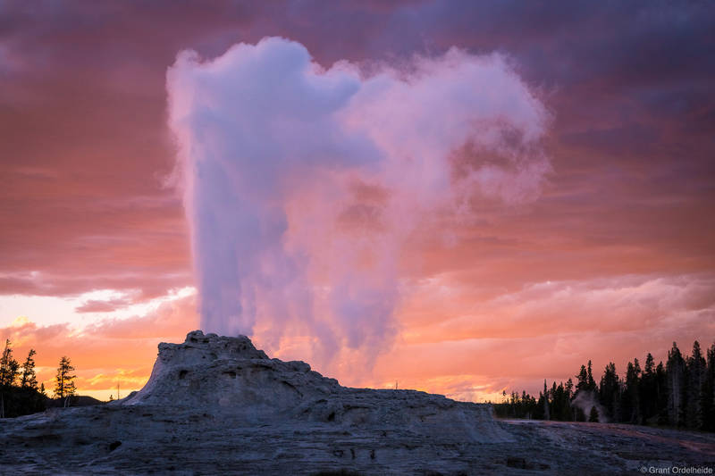 castle, geyser, sunset, yellowstone, national, park, wyoming