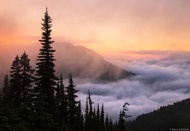 hurricane, ridge, sunset, olympic, national , park, washington, foggy, valley,