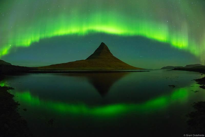 aurora, arch, Grundarfjörður, Iceland, borealis, arches, kirkjufell, mountain,