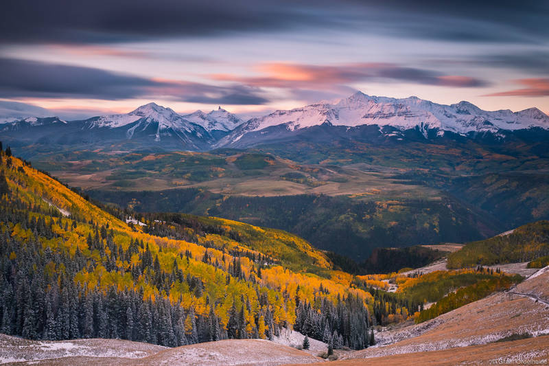 wilson, sunrise, telluride, colorado, usa, peak, autumn, last, dollar, road,