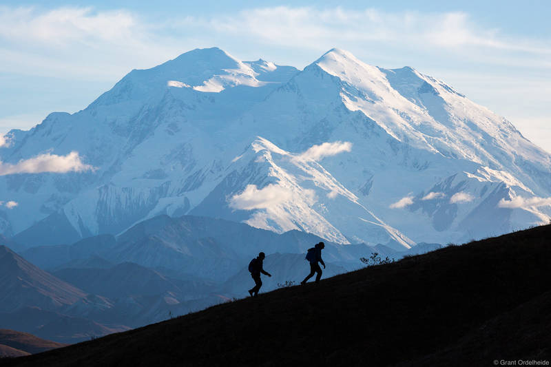 denali, hikers, national, park, alaska, usa, two, ridge