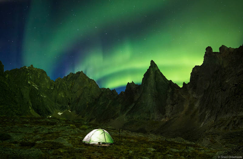 tombstone, aurora, territorial, park, yukon, illuminated, tent, remote, valley,