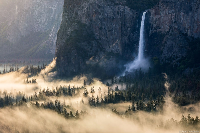 Bridalveil Falls, California, fog, morning, yosemite, national park,