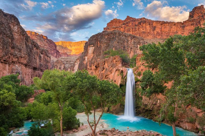 havasu, falls, supai, arizona, hiker, turquoise, waters,