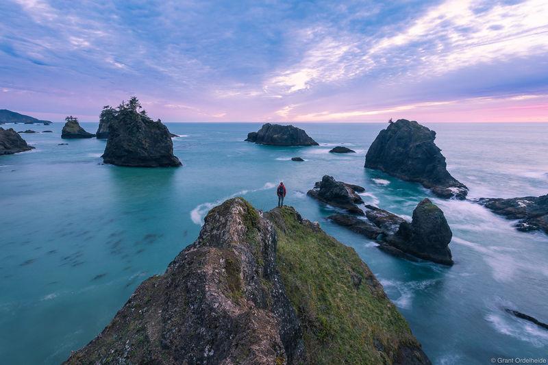 dusk, brookings, oregon, hiker, rugged, samuel boardman, scenic, sourthern, coast