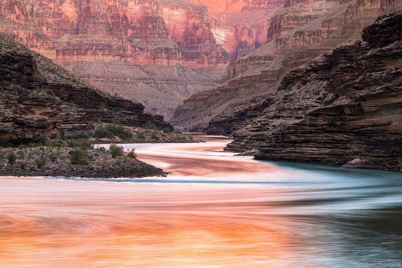 river, gold, grand, canyon, national, park, arizona, sunrise, reflections, conquistador aisle,