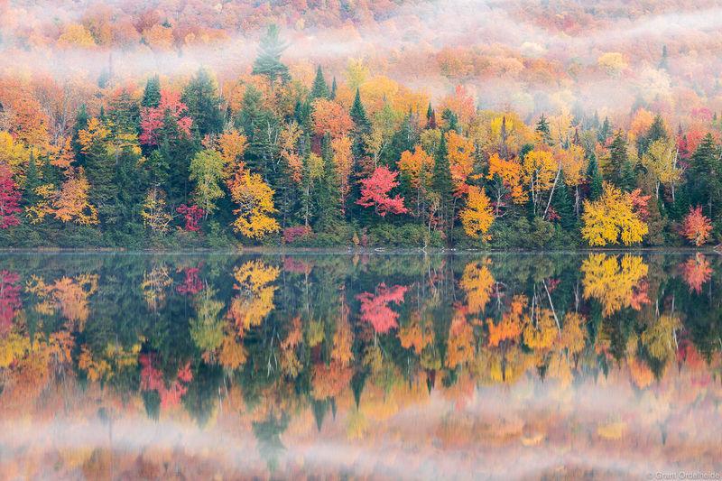 Adirondack, fall, lake, placid, new york, kaleidoscope, reflected, pond,  mountains, upstate