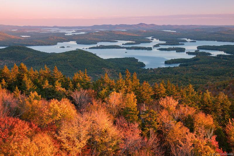 mount, morgan, holderness, new hampshire, autumn, sunset, squam, lake, summit,