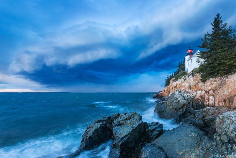 bass, harbor, head, lighthouse, acadia, national, park, maine, storm,