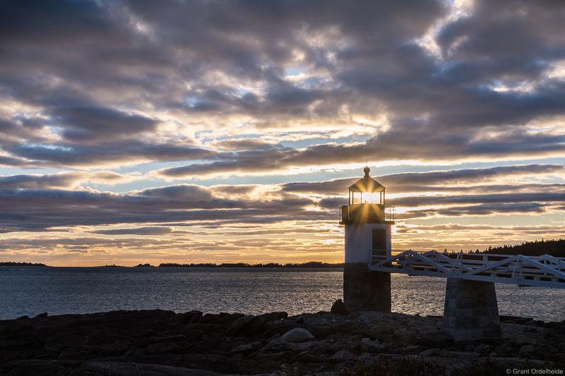 marshall, point, sunset, port, clyde, maine, lighthouse,