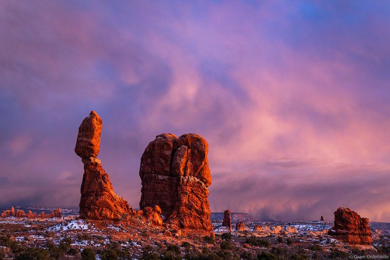 balanced, rock, dusk, arches, national, park, utah, winter, storm, moab